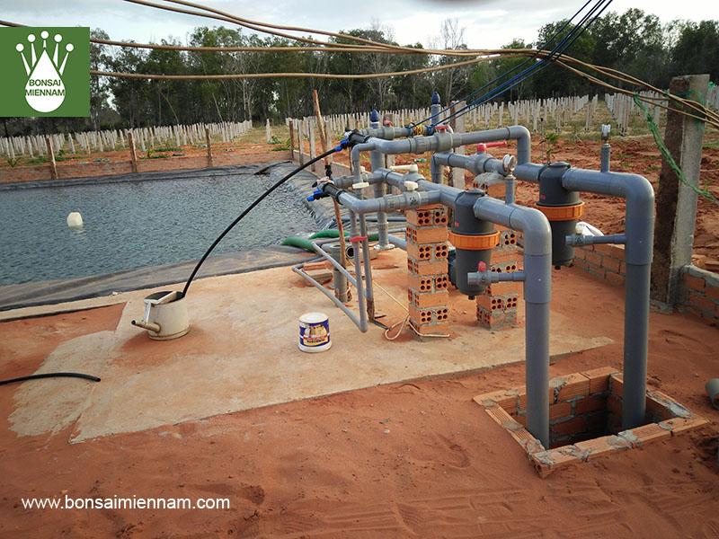 Bộ phận trung tâm xây dựng hệ thống tưới nhỏ giọt cho cây thanh long