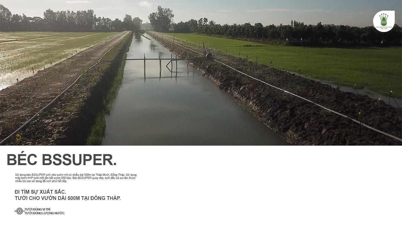 Béc bù áp BSSUPER tưới vườn dài 600m